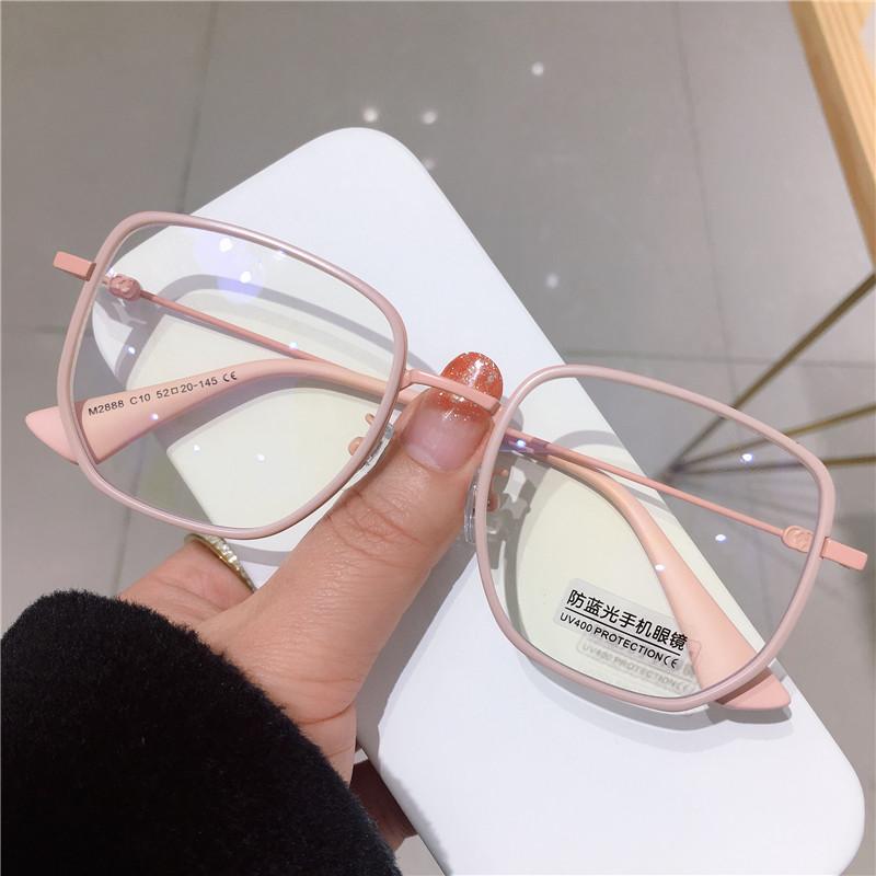 磨砂粉近视女圆脸可配有度数潮眼镜用后评测