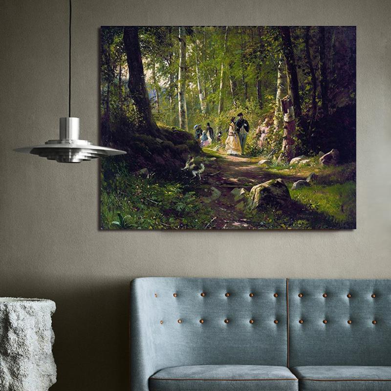 品都 森林树下散步人物风景图diy数字油画手绘客厅餐厅卧室装饰画