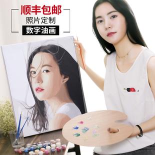 饰画自做 diy数字油画定制照片手工手绘填色填充上色减压油彩画装