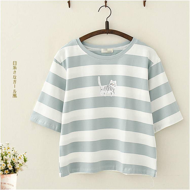 日系森女夏裝甜美貓咪印花短袖T恤學生少女軟萌妹百搭打底衫上衣