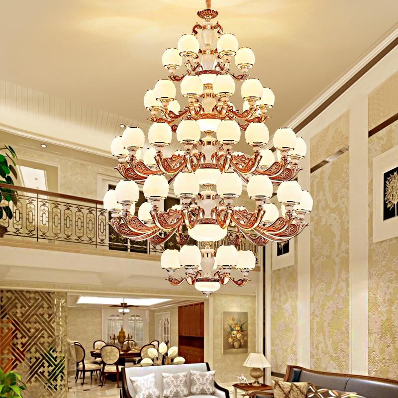 欧式复式楼大吊灯奢华大气别墅客厅灯跃层楼中楼大厅灯2020新款灯