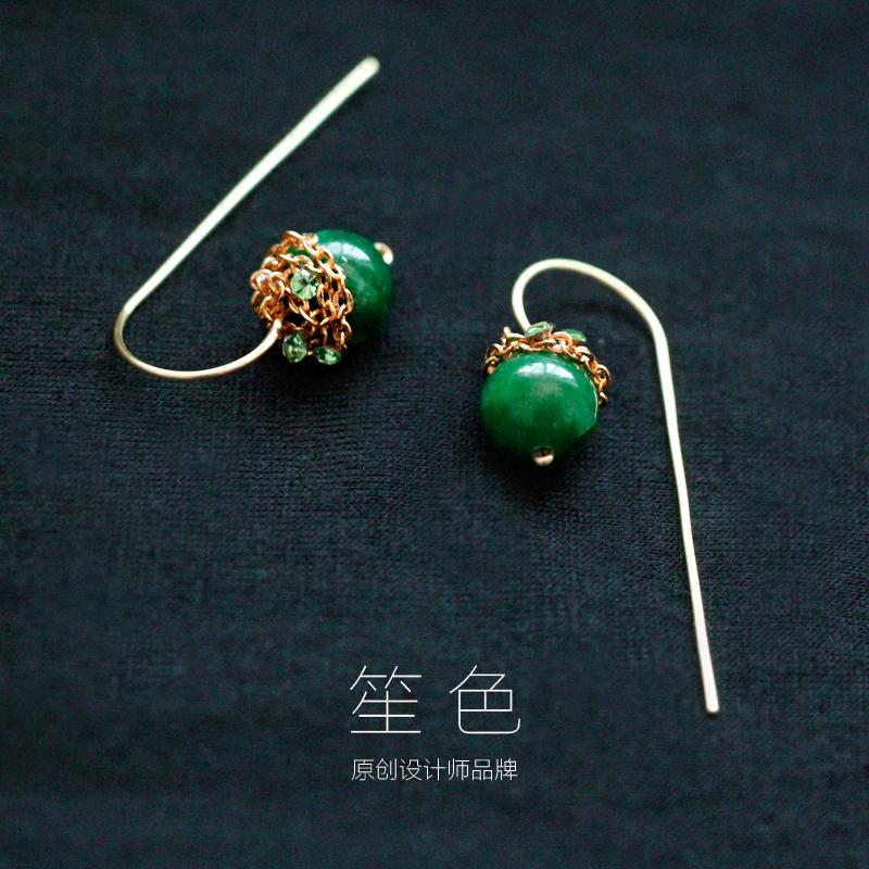 笙色独家绿野仙踪绿玉髓气质祖母绿14K包金注金极简复古耳环耳线