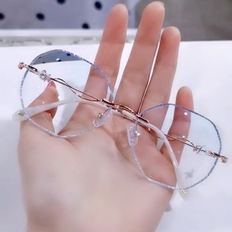 小红书爱可网红珠光闪边潮近视眼镜女可配度数无框钻石切边眼镜架