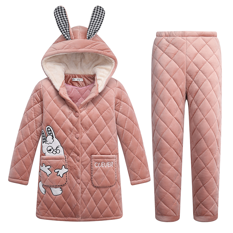 Cartoon lovely pajamas female winter coral velvet thickened Plush super warm three layer super thick home wear suit can be worn out