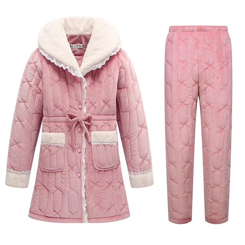 中长款女士冬季保暖睡衣加厚加绒中年妈妈家居服套装冬天可外穿