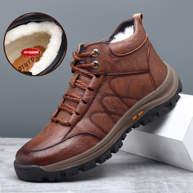 Cotton shoes mens winter warm Plush thickened sports leisure outdoor cotton boots fur integrated anti slip waterproof high top shoes
