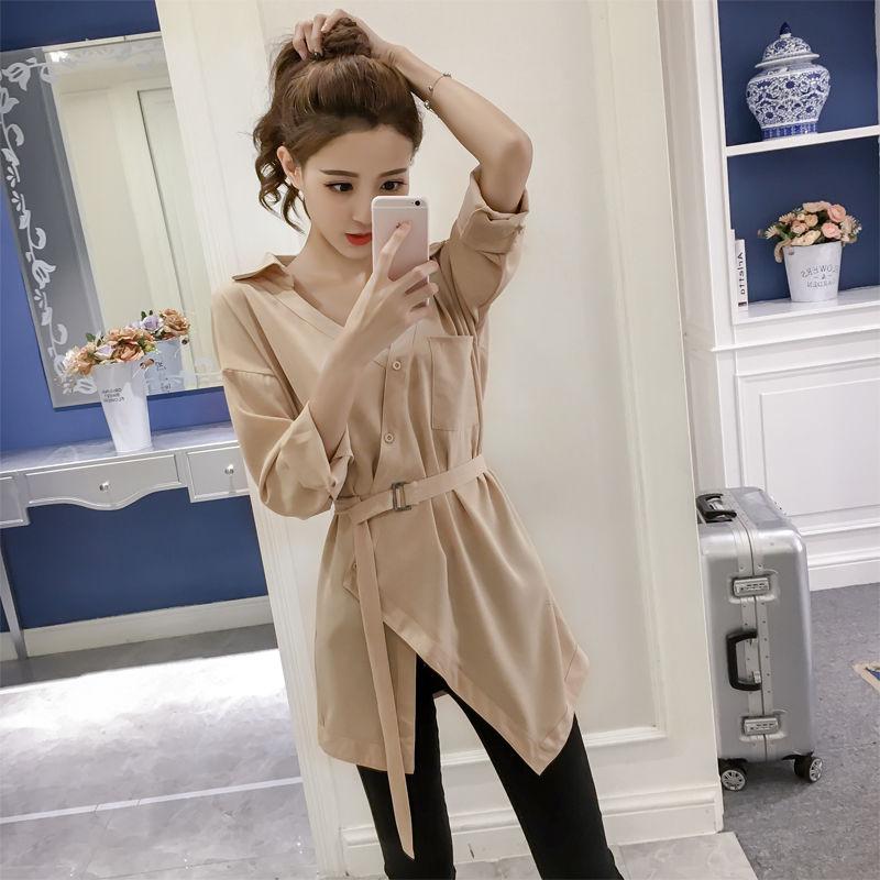 不规则衬衫潮韩版学生宽松2021春季新款上衣女长袖v领衬衣外套女
