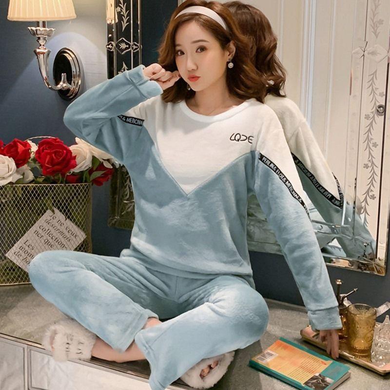 睡衣女冬珊瑚绒韩版学生可爱长袖秋冬季加厚法兰绒大码家居服套装