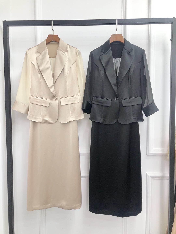 2020夏季新款醋酸缎面清凉光滑舒适小西装吊带裙七分袖两件套装