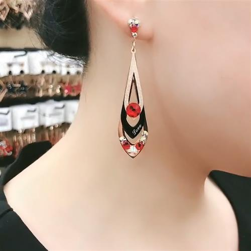 Minimalist style multilateral earring drop, European and American fashion style with thin face, exquisite net, Hong Kong style and retro taste