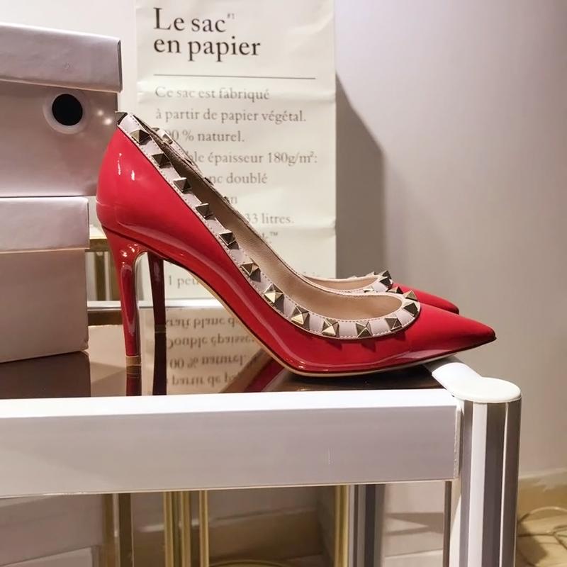 铆钉高跟鞋女细跟2020秋冬新款百搭性感气质尖头v家柳钉单鞋红色图片