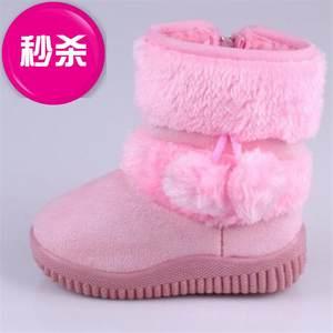 鞋子6岁女童雪地靴2019年h新款 防水亮色平底高筒靴大棉棉靴帆布