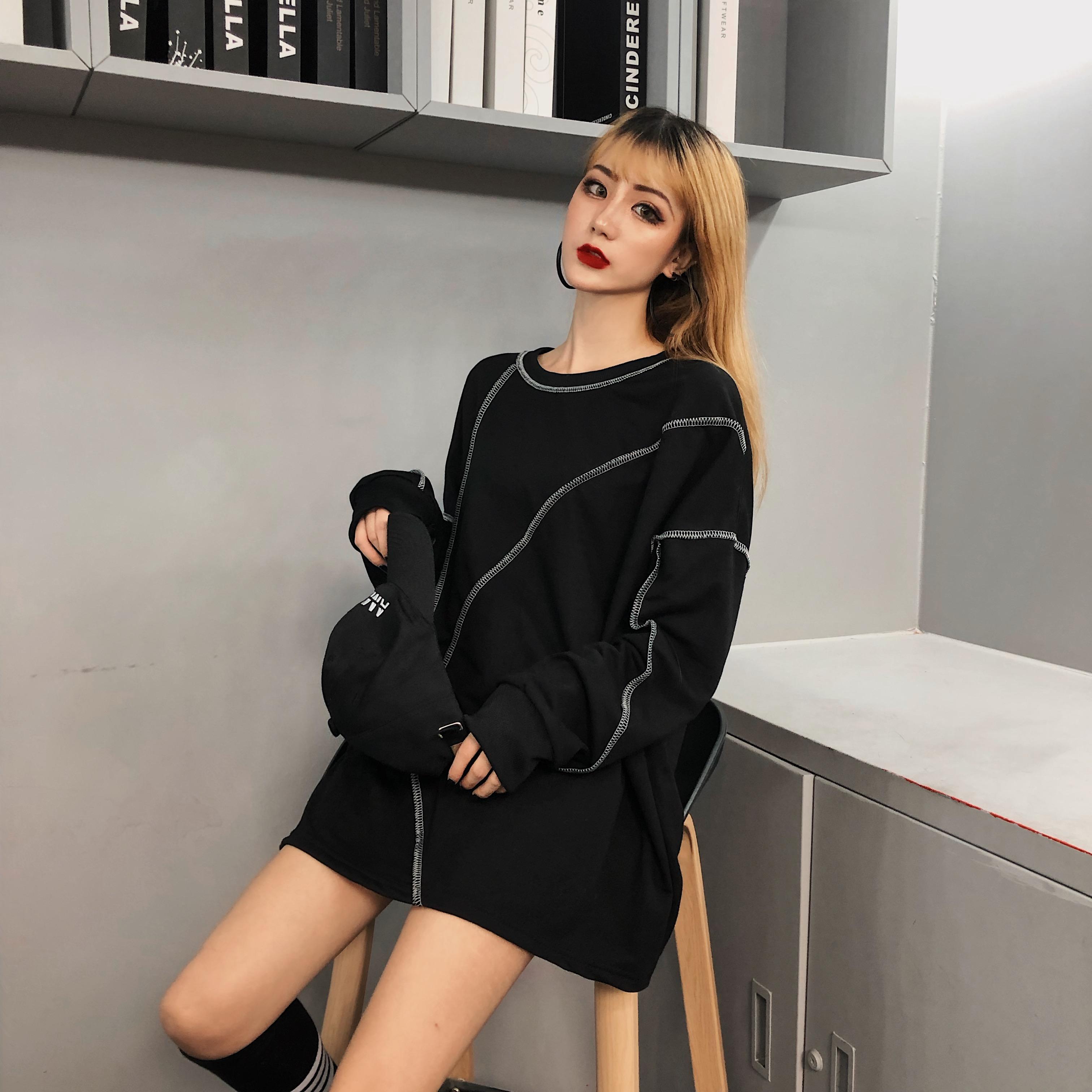 早秋韩版中长款宽松个性设计情侣款慵懒风套头T恤卫衣上衣女