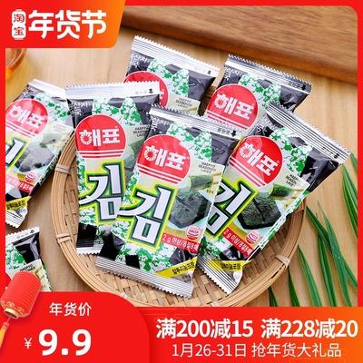 弘韵零食商城 韩国海飘烤海苔海牌即食烤紫菜2g*8(50g)寿司小吃