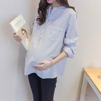 2018 весенний и осенний сбор. новые товары корейский свободный куртка корея беременная женщина установлены с длинными рукавами волна мама полоса классическая беременная женщина рубашка