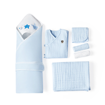 Cotton era hug by + and robe + bath towel + face towel + handkerchief 2 sterilization Packaging Newborn combination Pack
