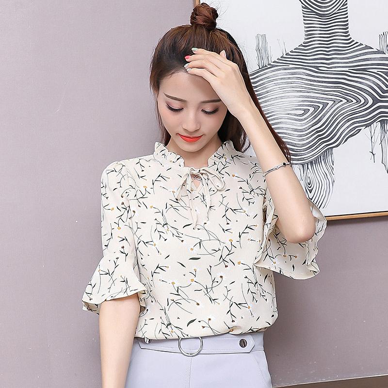雪纺衫女短袖2018夏装新款甜美喇叭袖碎花宽松印花小衫上衣服女潮