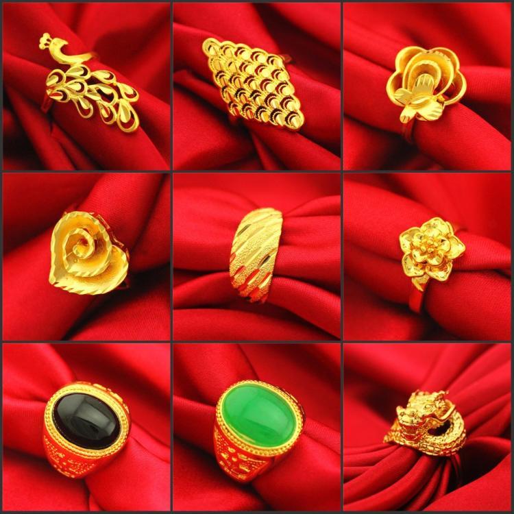 送耳钉情侣款富贵花宝石心形花镀金镀黄金欧币沙金3D硬金开口戒指