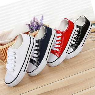 儿童低帮帆布鞋男童黑白色学生童鞋