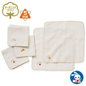 现货●日本本土西松屋宝宝婴儿纯棉纱布有机棉浴巾手帕口水巾5枚