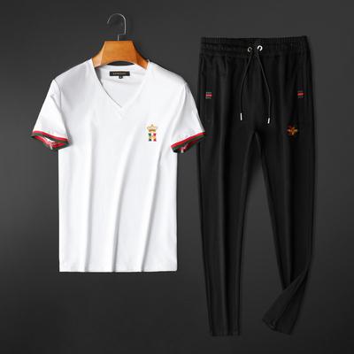 2020春夏运动休闲丝光棉短袖套装男百搭长裤T190 P190 白衣+黑裤