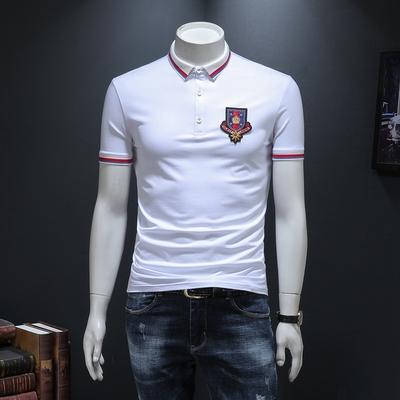 2019新款短袖T恤男翻领POLO衫皇冠刺绣修身潮流 99353 P70/白