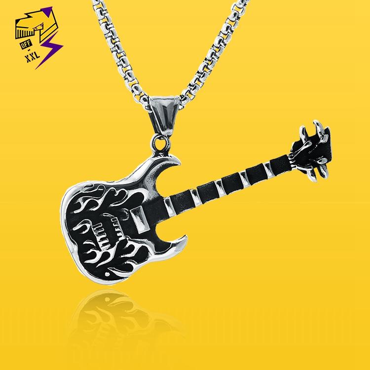 Star same student Jewelry Music Festival flame rock electric guitar titanium steel necklace DJ nightclub trendy brand Pendant