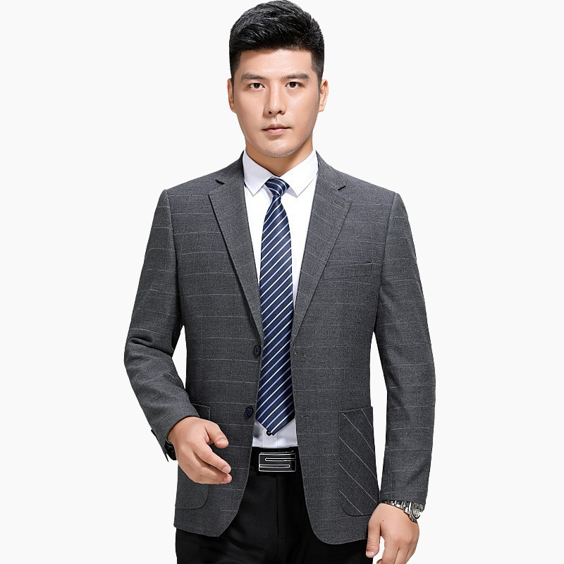 Suit mens coat business leisure Plaid single west brand middle aged mens suit spring and autumn one double breasted