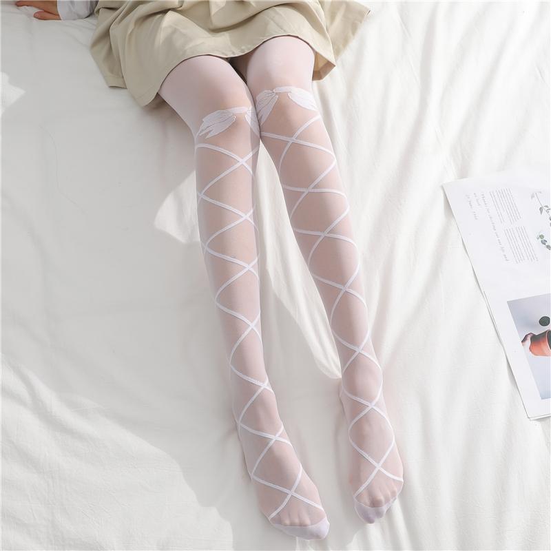 日系洛丽塔白色丝袜女可爱软妹蝴蝶结显瘦lolita打底连裤袜子薄款