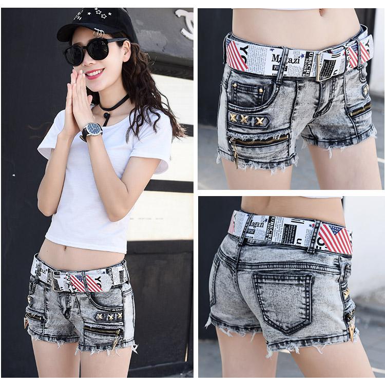 Elastic denim shorts womens 2021 summer new low waist zipper edging versatile Vintage hole ultra short pants trend