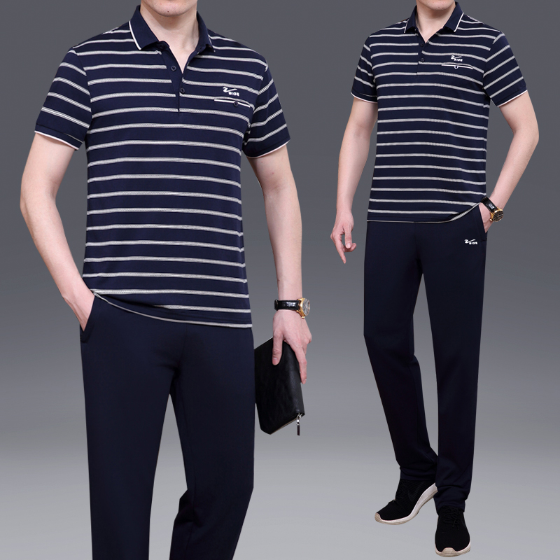 Middle aged and elderly sports suit mens summer short sleeve T-shirt middle aged large casual dads Polo Shirt striped mens wear