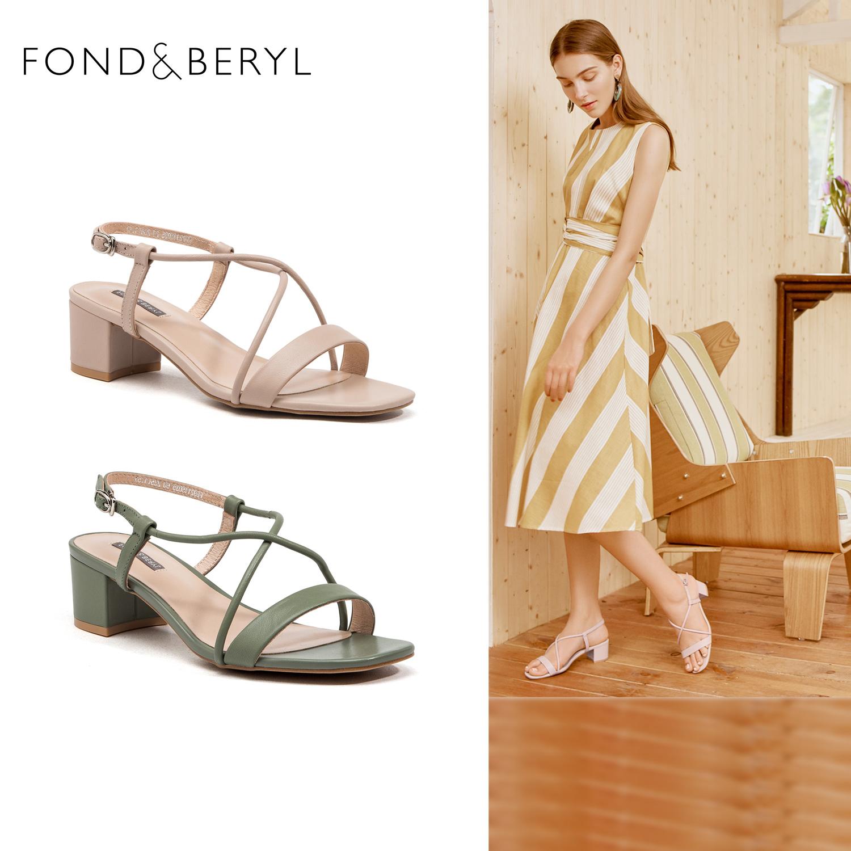 Fondberyl/菲伯丽尔夏季舒适优雅交叉绑带方头粗跟露趾凉鞋女鞋潮