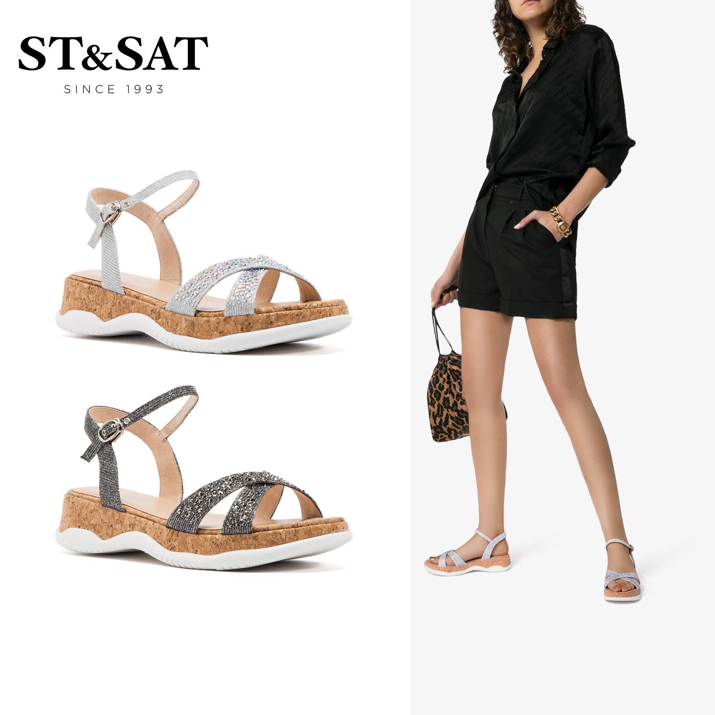 St&Sat/星期六夏季露趾凉鞋坡跟厚底一字式扣带舒适休闲运动风女