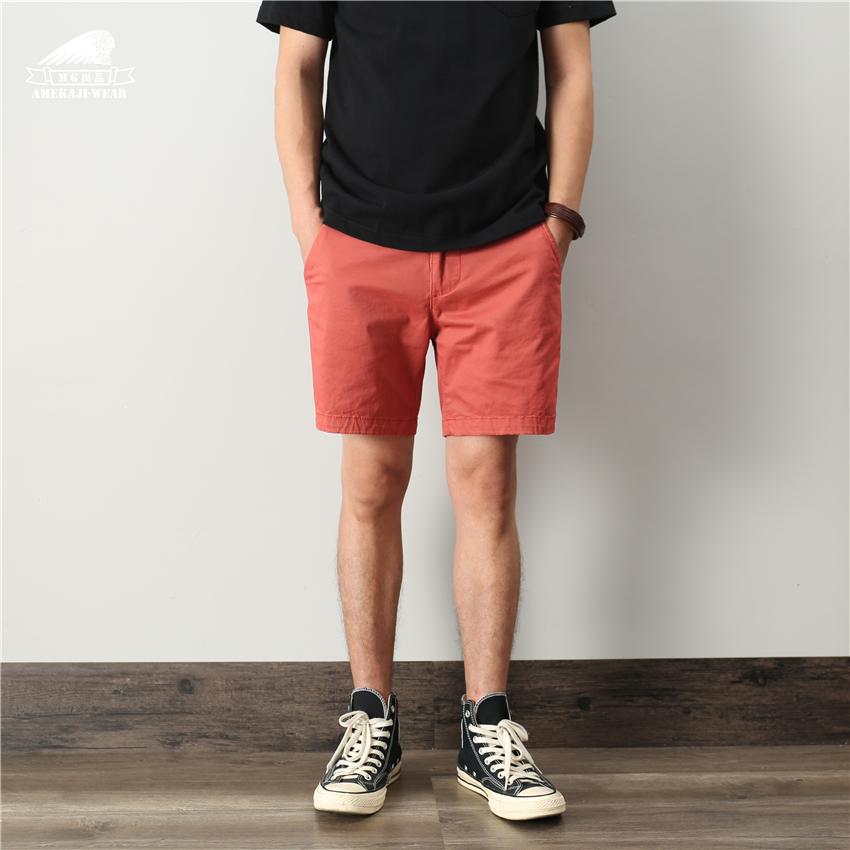 美式复古夏天薄款弹力工装短裤男三分裤休闲纯棉水洗修身型四分裤