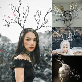 鹿角头饰白色树枝发卡森女麋鹿发箍超仙小仙女写真摄影发饰道具