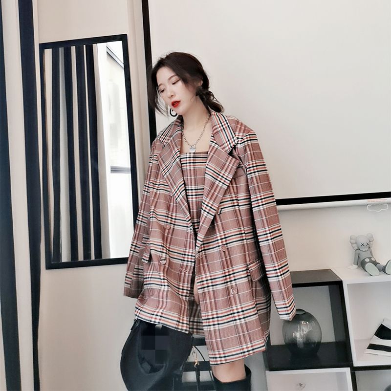 Chen2021 spring and Autumn New Korean loose and versatile Plaid large size suit coat womens suspender skirt top suit