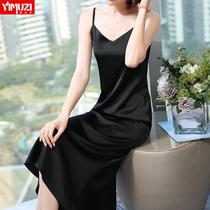 黑色醋酸缎面雪纺吊带连衣裙女夏2020新款性感内搭中长款打底长裙