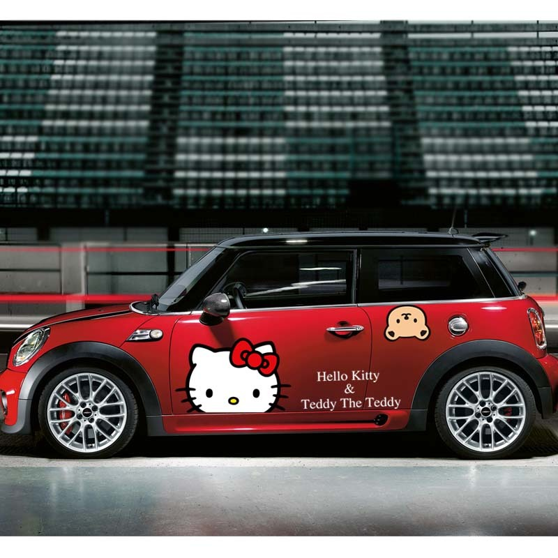 kook可爱猫车贴 mini 侧门汽车贴纸 可爱搞笑反光 防水整车拉花