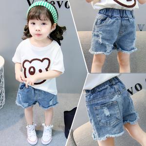 女童牛仔短裤2021夏装新款洋气外穿热裤儿童宝宝薄款百搭破洞裤子