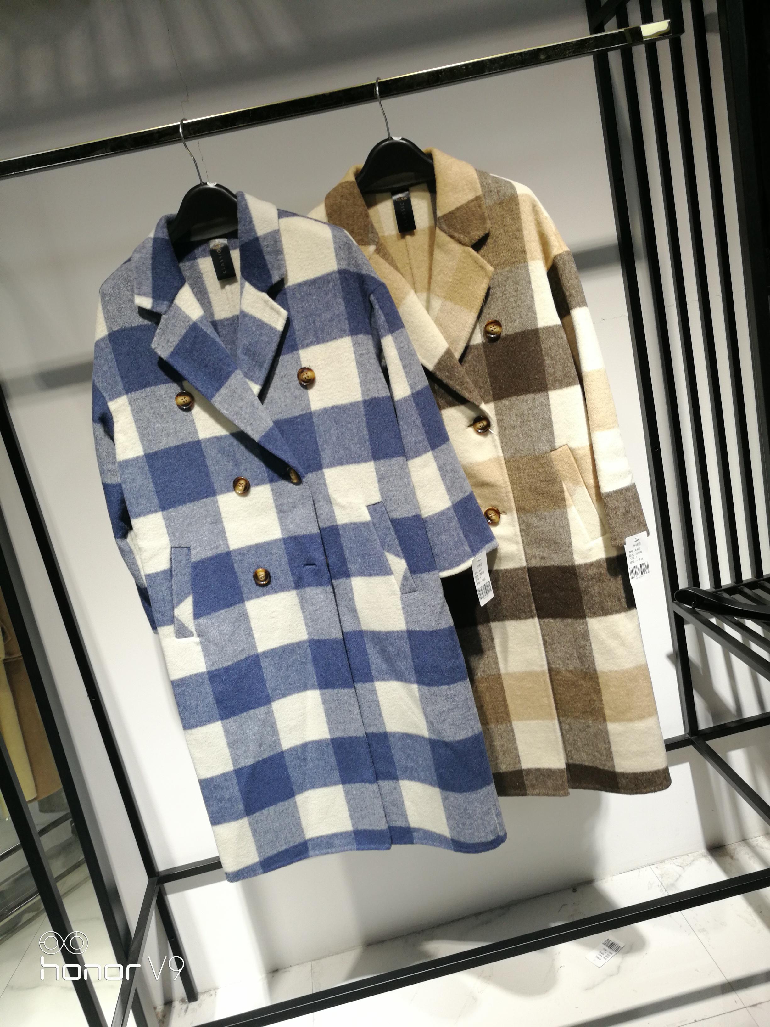 SZL青春靓丽格子风衣双面羊毛呢大衣中长款S58988K879