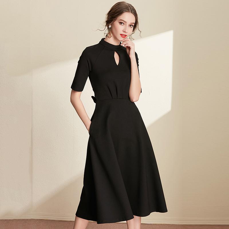 极简主义 连衣裙港味夏气质2018新款女装显瘦小黑裙复古长裙A字裙