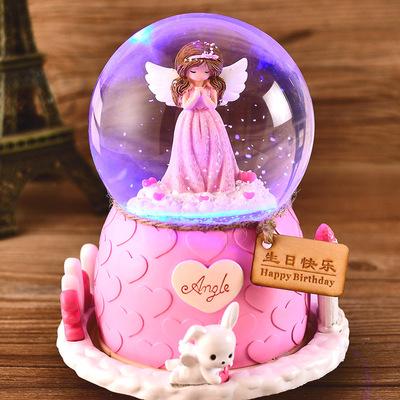 圣诞节水晶球旋转音乐盒八音盒跳舞芭蕾公主儿童生日礼物女生女孩