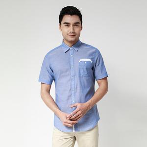 橙子夏季新款男士纯棉休闲短袖衬衫
