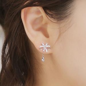 韩国饰品蝴蝶结水滴微镶假耳环无耳洞软垫耳夹银针耳钉女耳饰