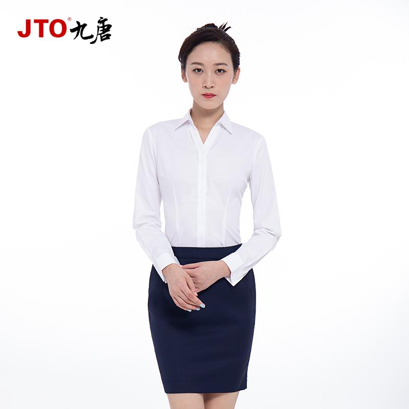 九唐服饰沃尔沃衬衫女4S店工作服新款夏装长袖白衬衣职业装工装