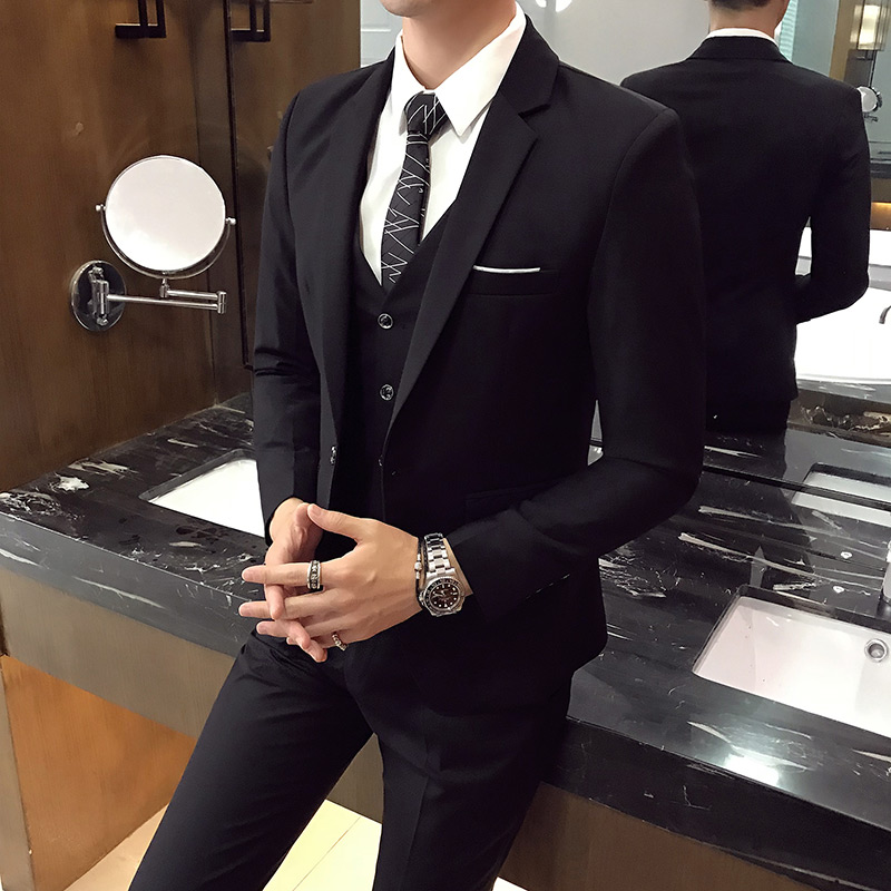 Mens suit mens suit slim casual formal best man group dress bridegrooms Suit Wedding Korean professional wedding
