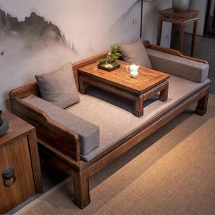 家具老榆木推拉罗汉沙发床榻 罗汉床新中式 实木小户型禅意卧榻明式