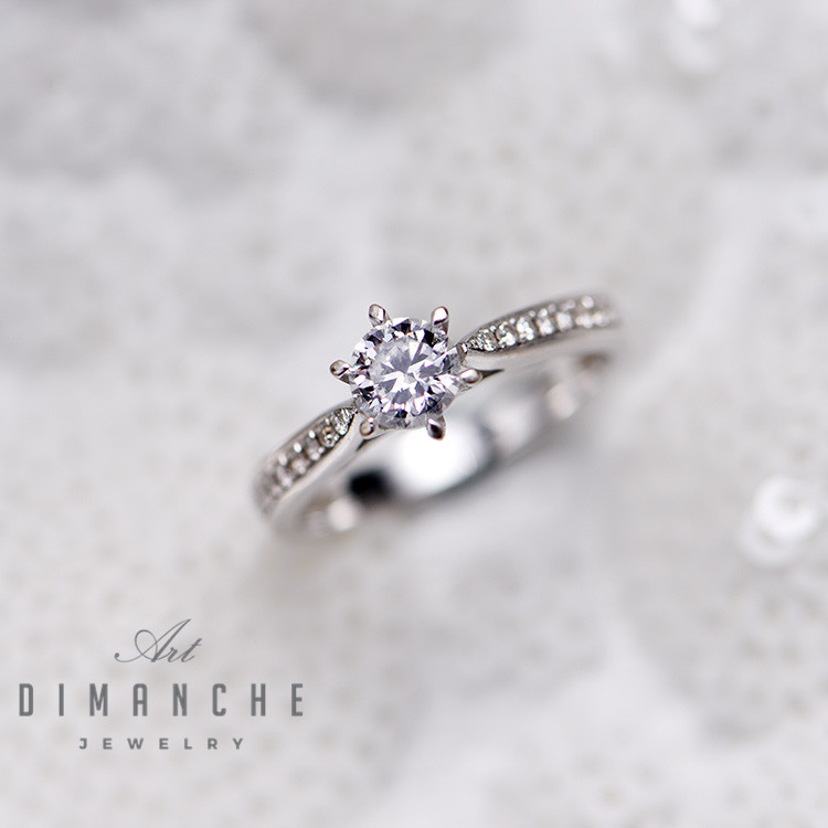 Dimanche six claw couple wedding engagement day GIA Diamond 18K white gold with diamond Dr series ring