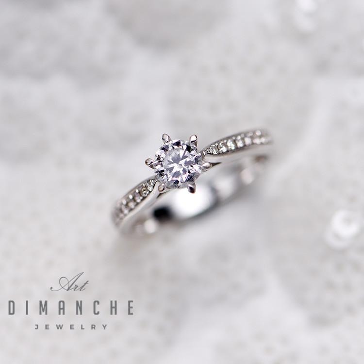 DIMANCHE六爪情侣结婚订婚纪念日GIA钻石18K白金镶钻DR系列戒指