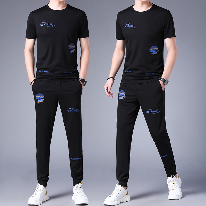 New dad middle age summer sports suit mens leisure summer business slim short sleeve solid color trousers two piece mens set